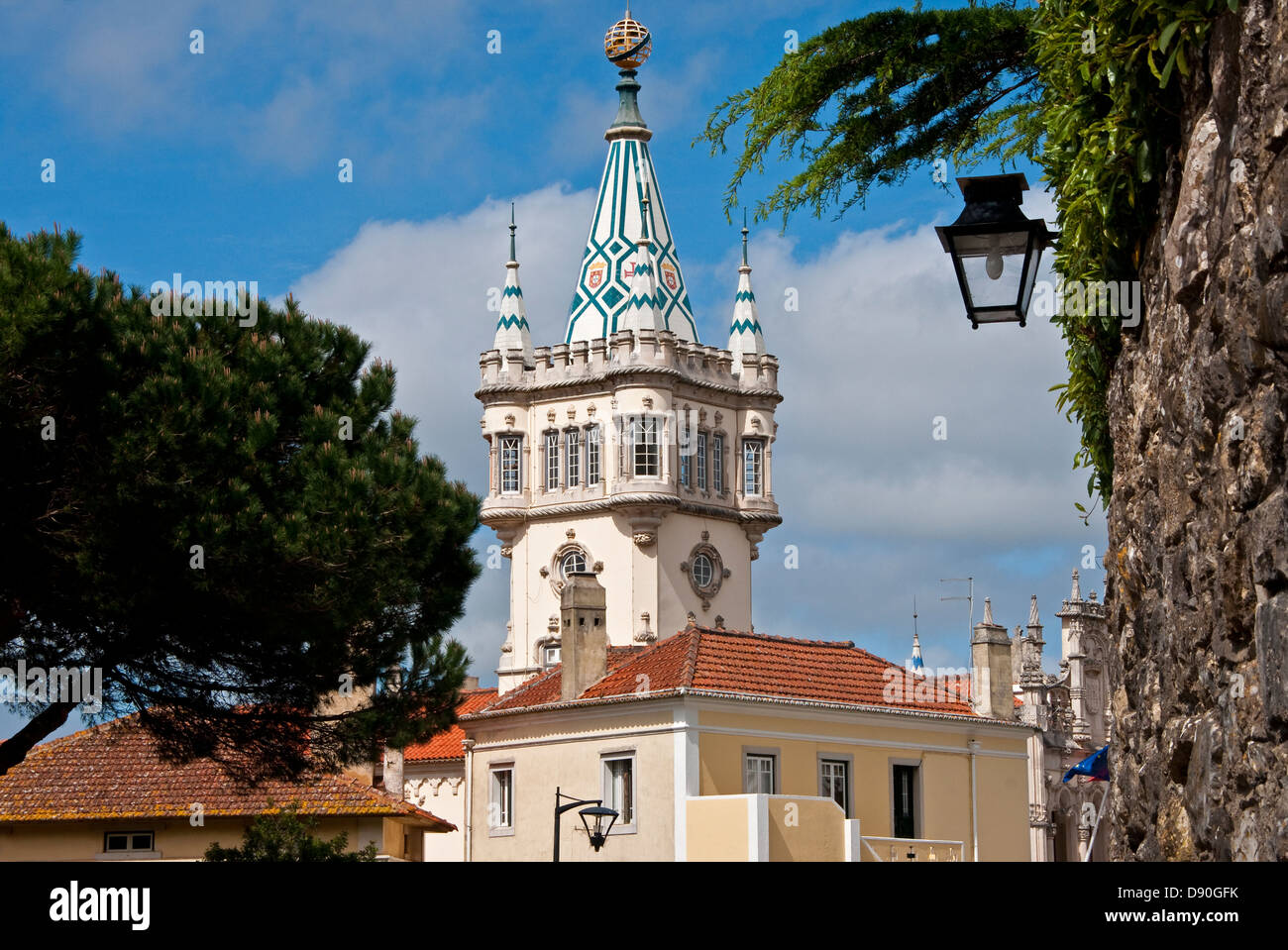 Sintra, Portugal, City Hall's fanciful tower of 19th century romantic architecture. - Stock Image