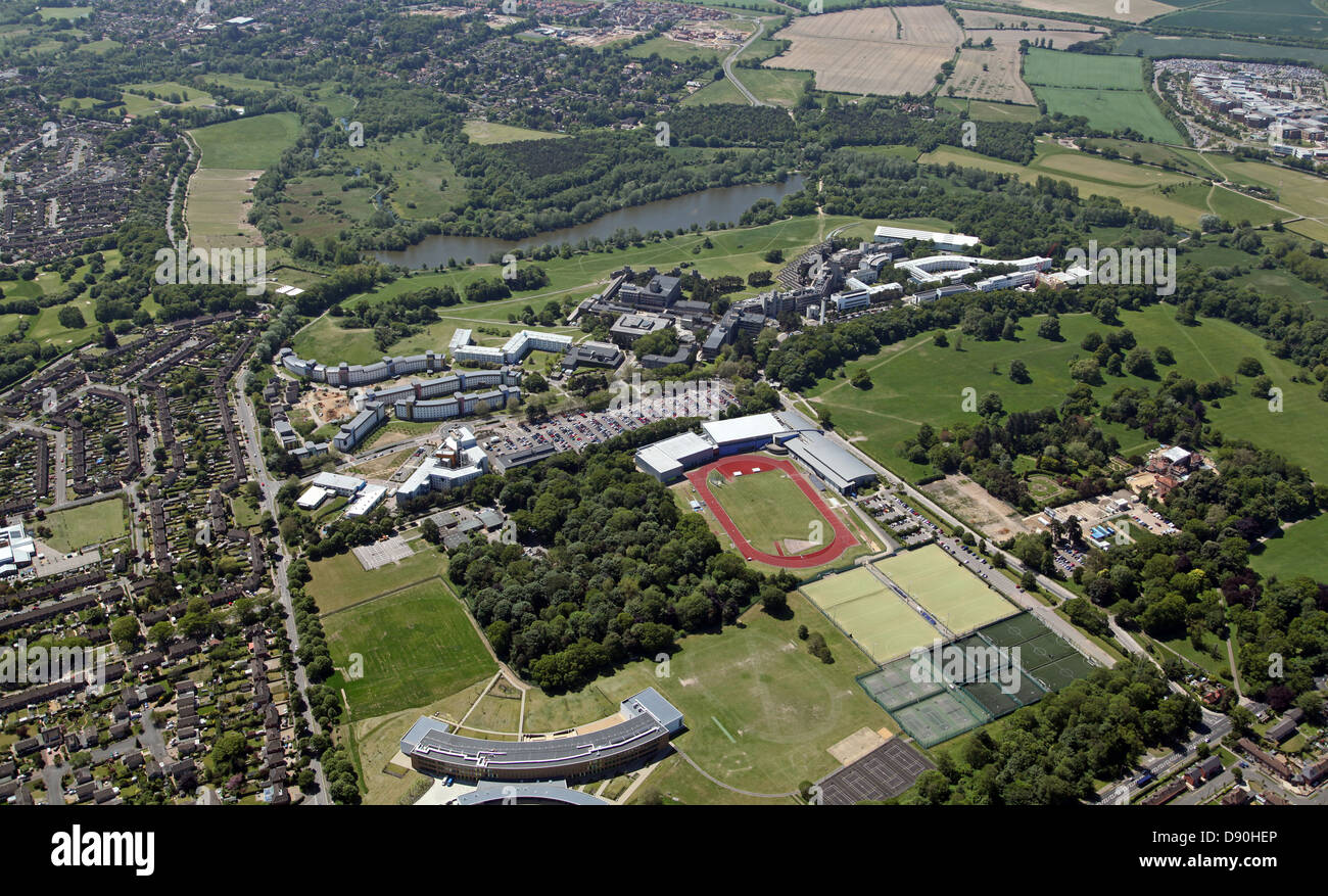 aerial view of the University of East Anglia, UEA, Norwich - Stock Image