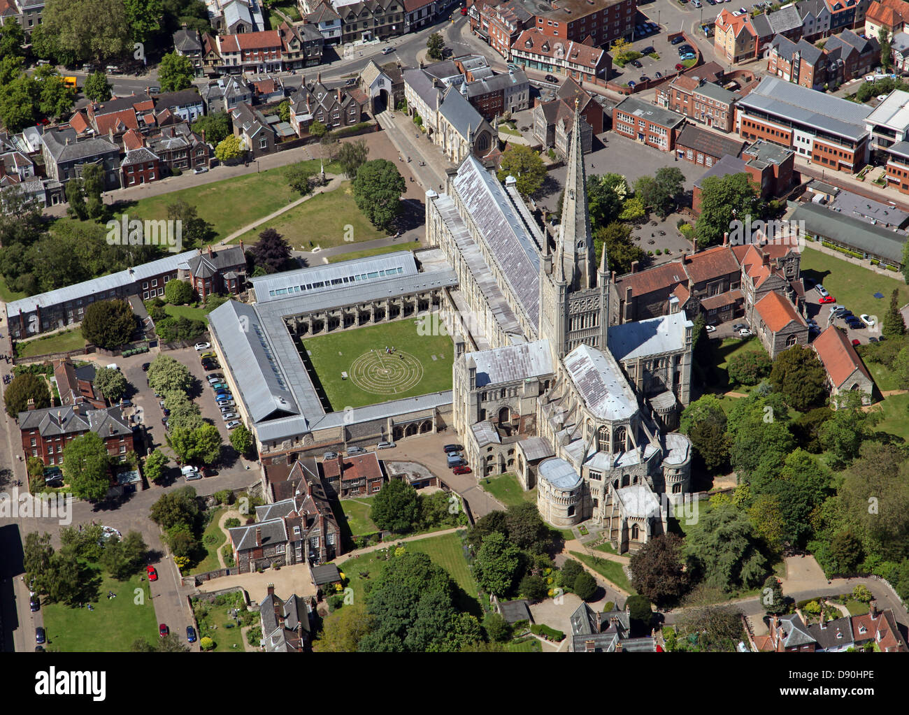 aerial view of Norwich Cathedral dedicated to Holy and Undivided Trinity, Norfolk Stock Photo