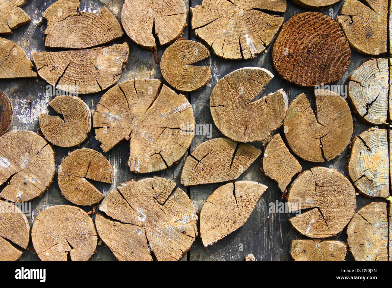 Detailed view of a nice wood fence reproducing firewood - Stock Image