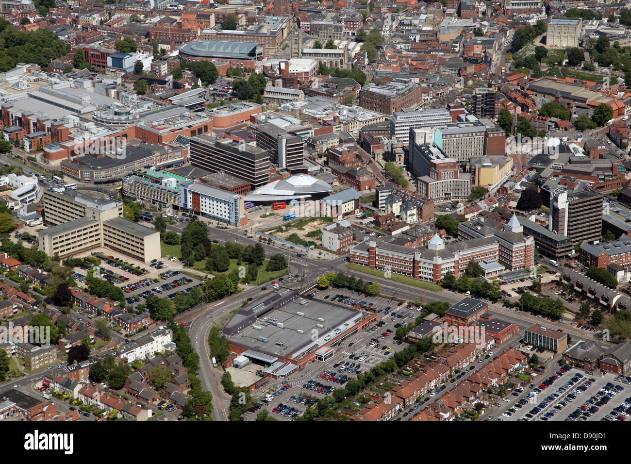 aerial view of Norwich city centre - Stock Image