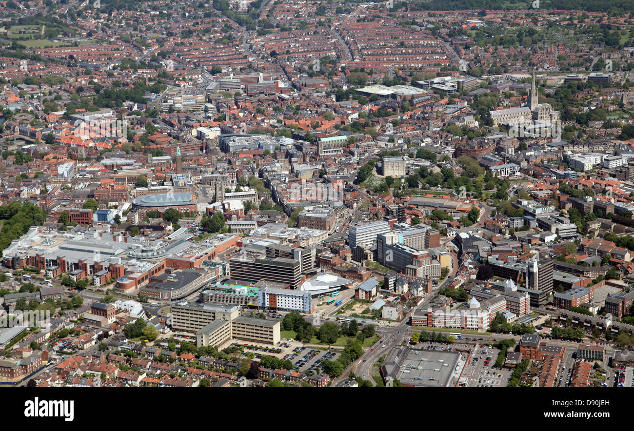 aerial view of Norwich city centre Stock Photo