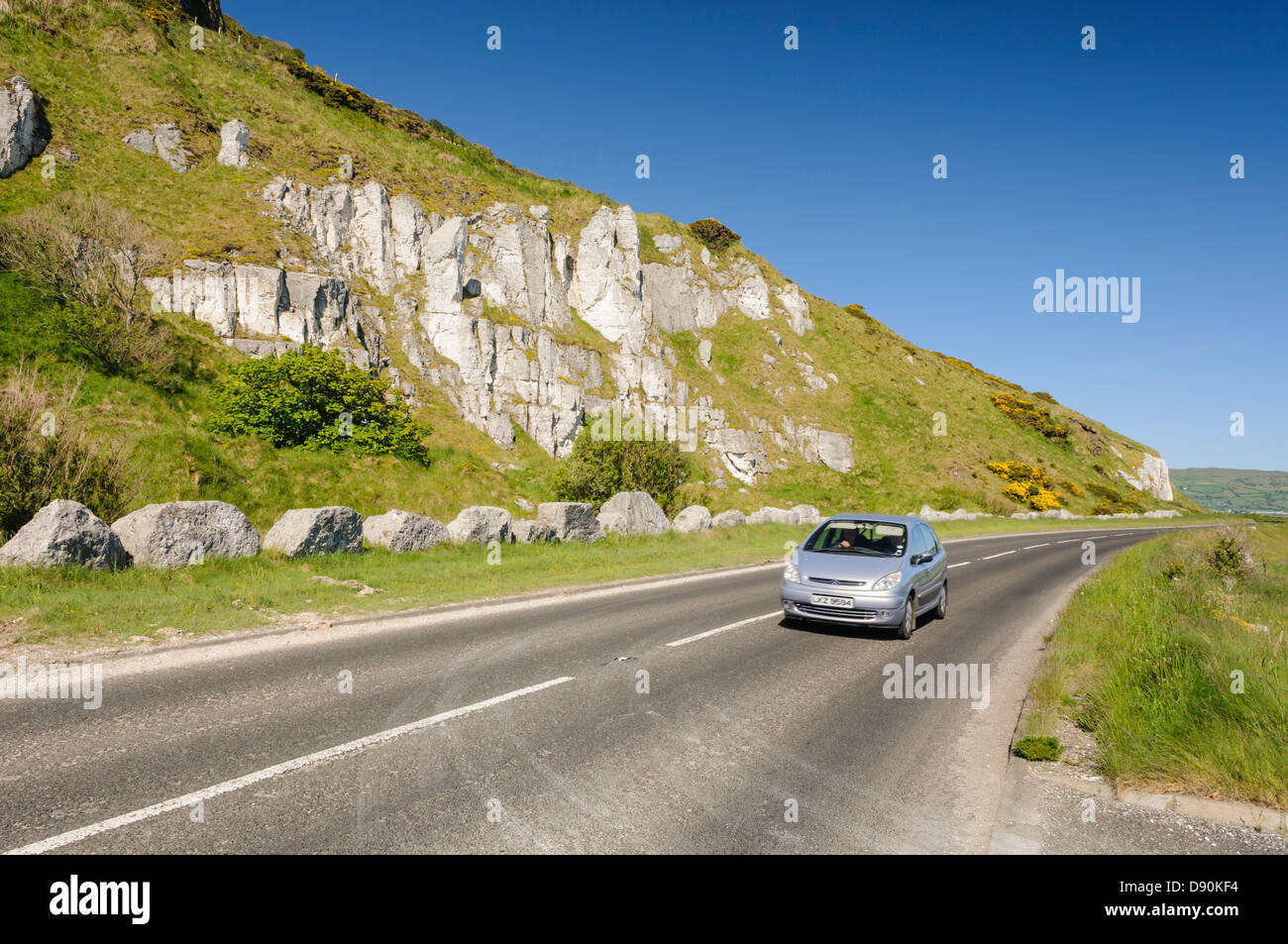 Causeway Coastal Route outside Glenarm, seen as many as one of the best driving roads in the world. Stock Photo