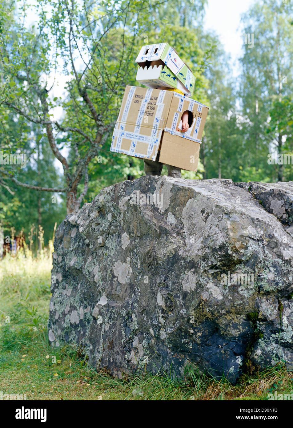 A dragon made of cardboard, Dalarna, Sweden. - Stock Image