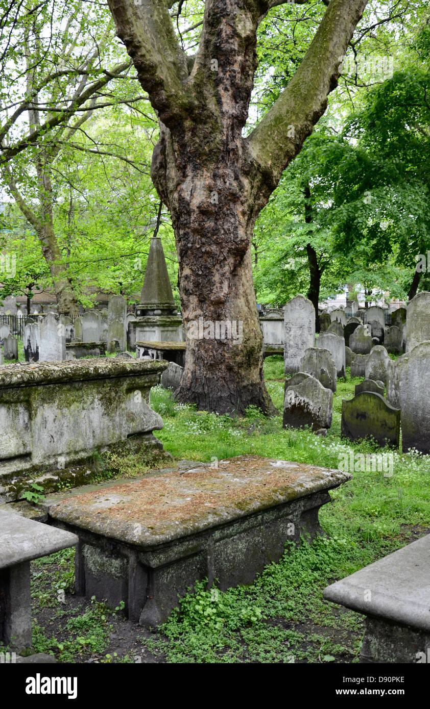 Headstones in Bunhill Fields Burial Ground, London. Stock Photo