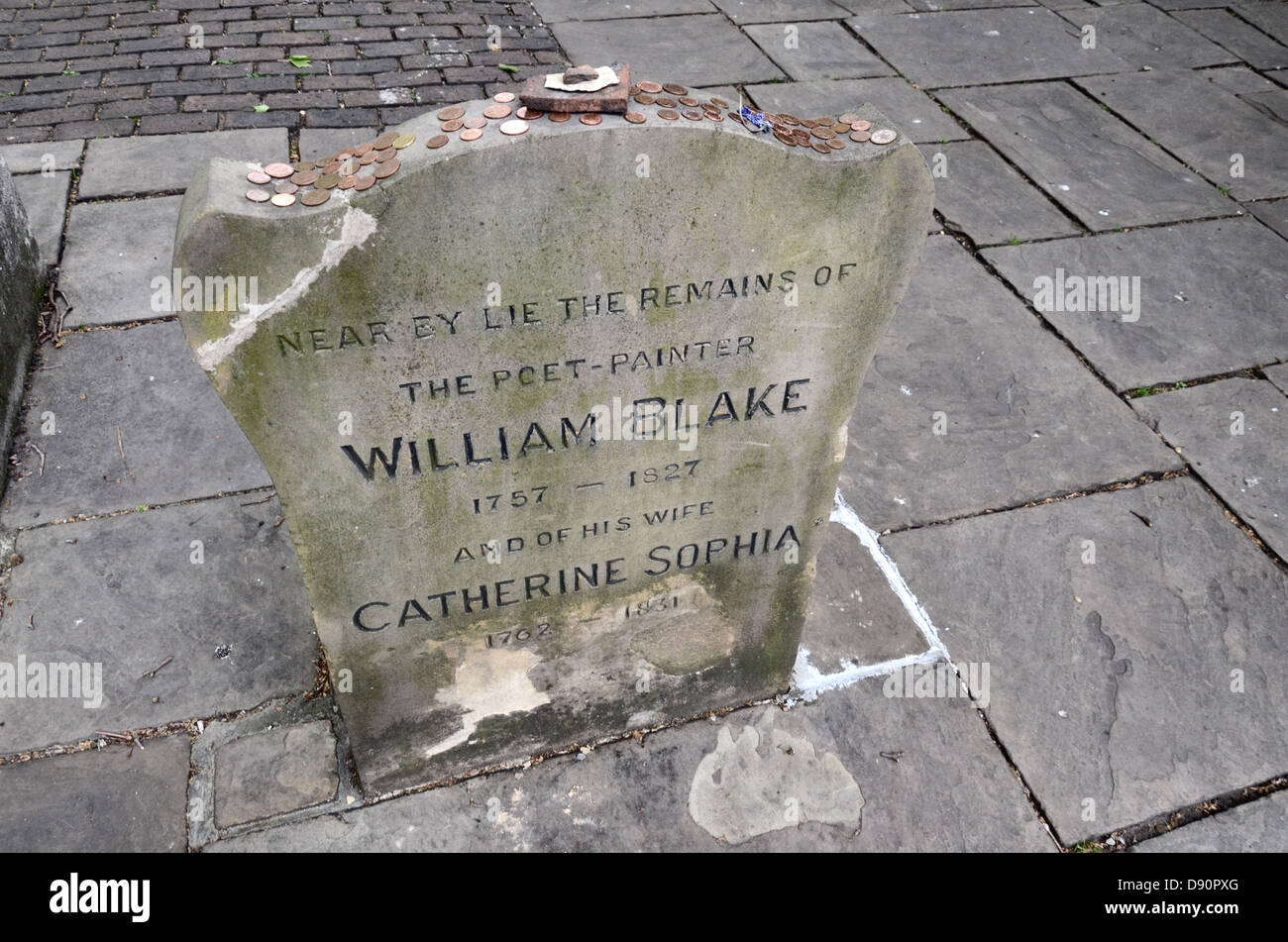 Memorial near the grave of William Blake and his wife in Bunhill Fields Burial Ground, London. - Stock Image