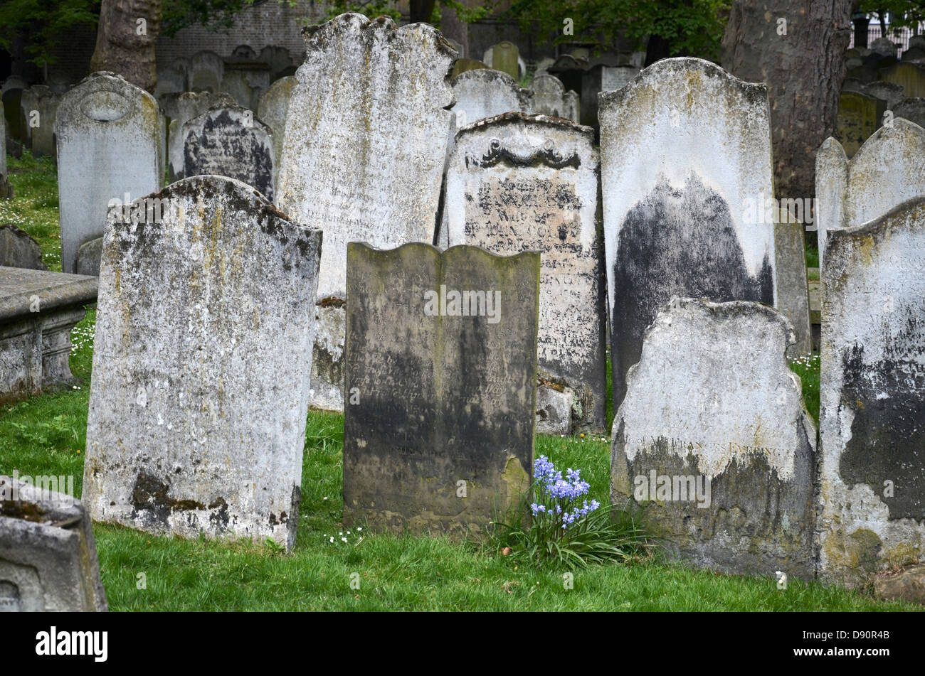 Headstones in Bunhill Fields Burial Ground, London. - Stock Image
