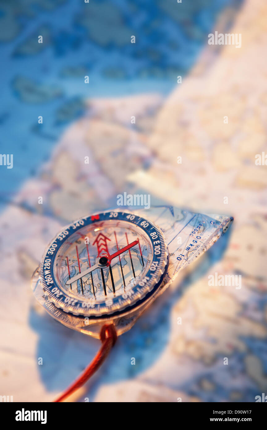 High angle view of compass - Stock Image