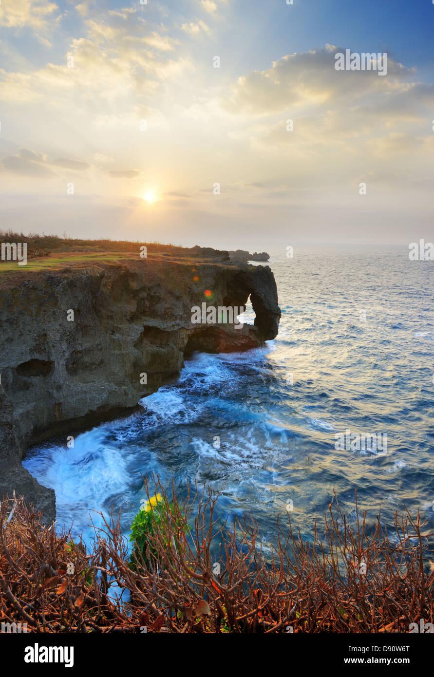 Cliff at Manzamo, Okinawa, Japan. - Stock Image
