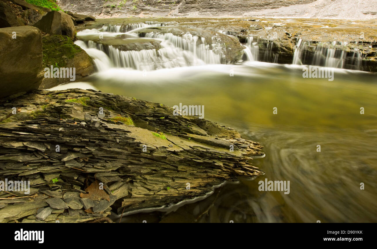 Time Lapse Stream with a chunk of brittle shale rock in the foreground - Stock Image