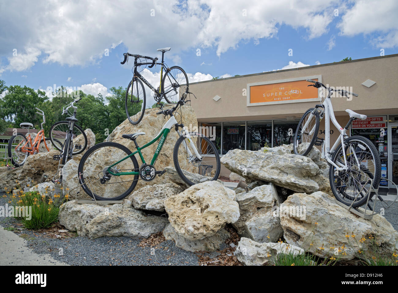 Bicycles atop rocks in front of a bike shop Gainesville Florida. - Stock Image