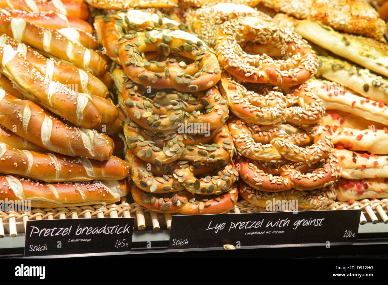Germany Frankfurt am Main Airport FRA terminal gate area concourse shopping display for sale Heberer's Traditional - Stock Image