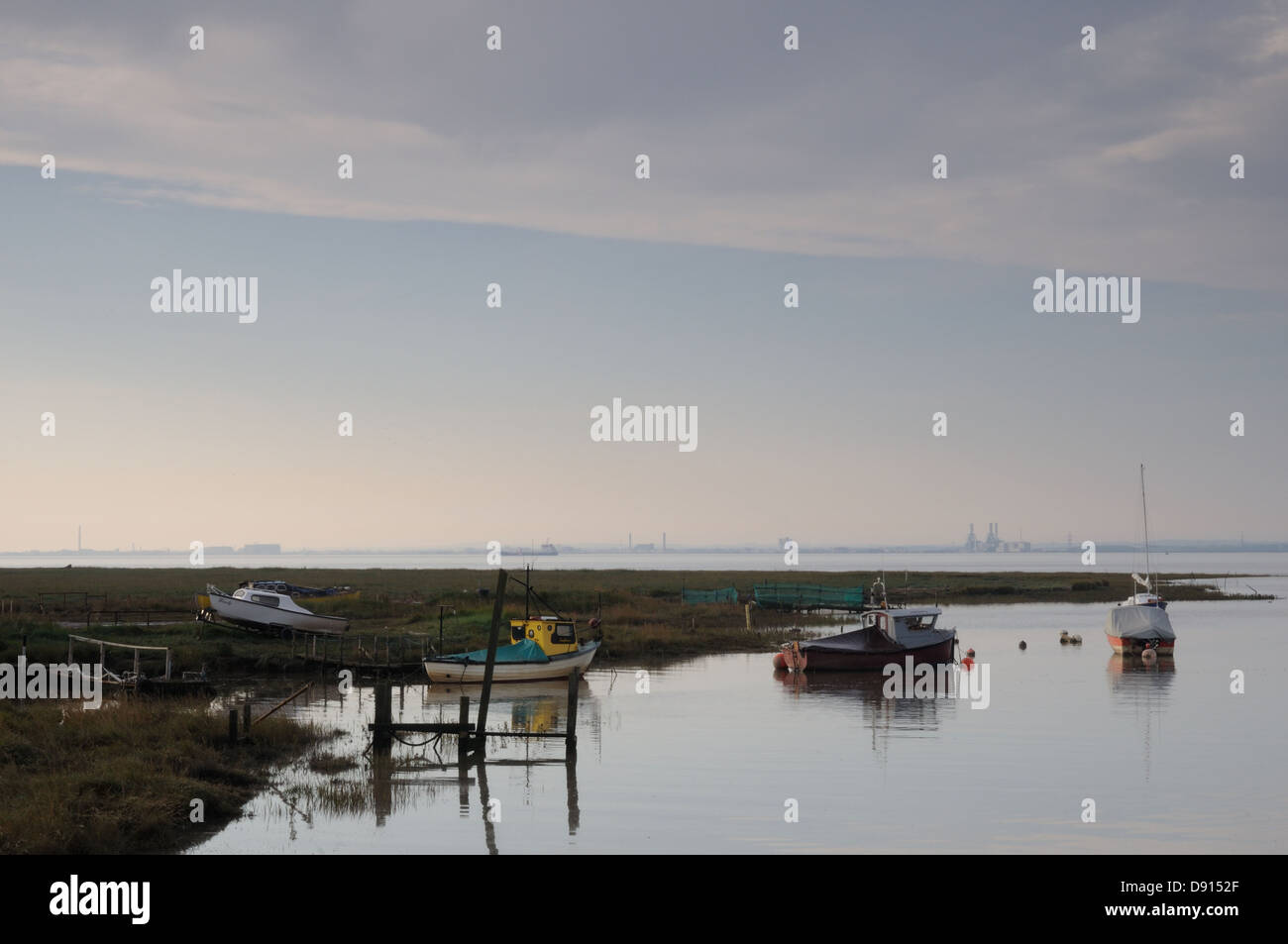 Boats moored at Stone Creek, East Yorkshire, England Stock Photo