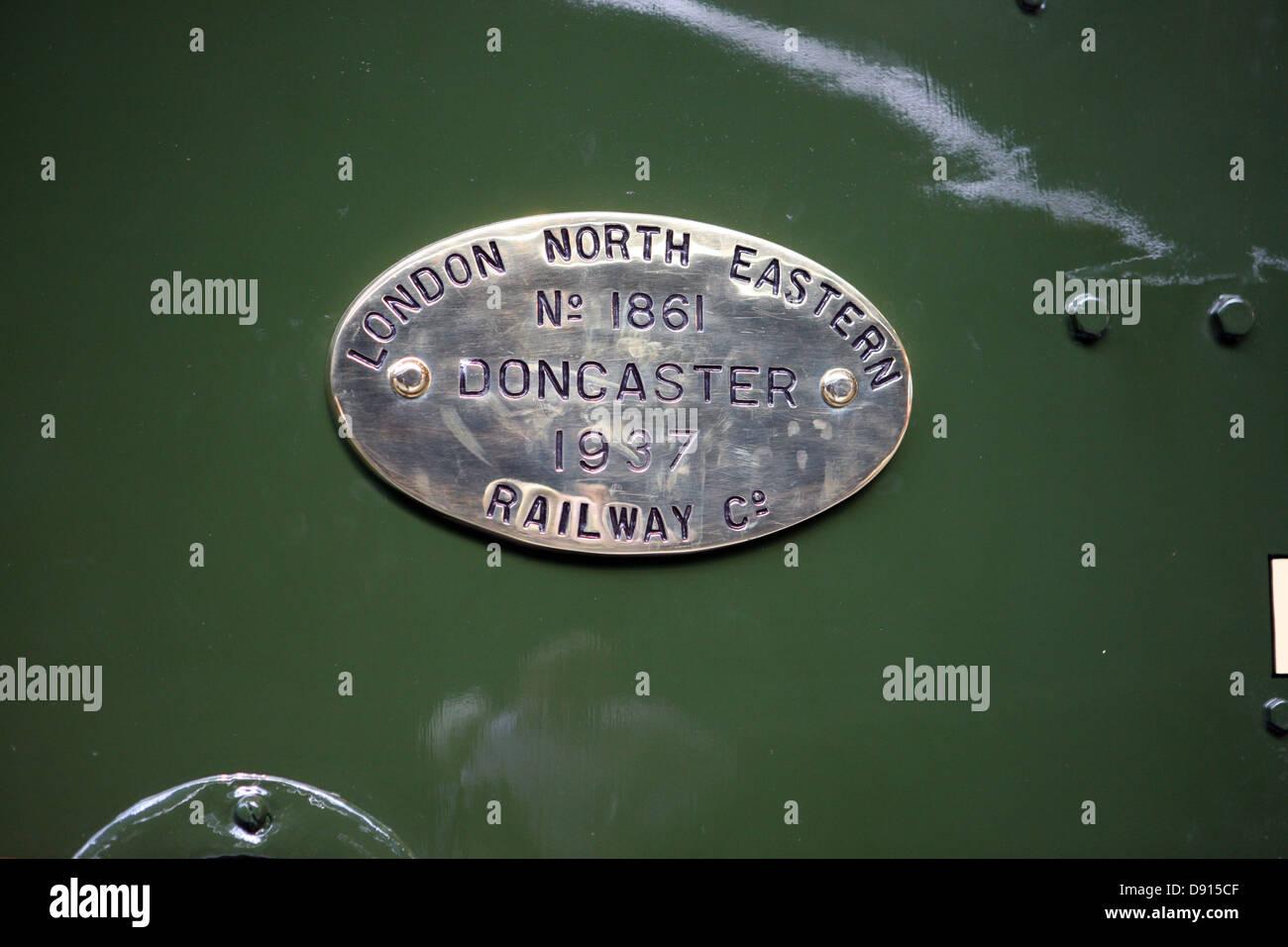 Plate on side of Mallard  locomotive Dwight D  Eisenhower - Stock Image