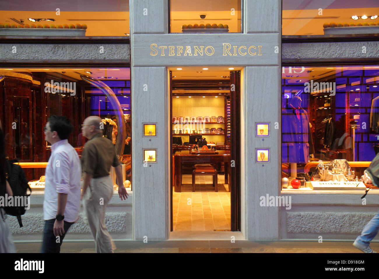 Singapore The Shoppes at Marina Bay Sands shops shopping front entrance Stefano Ricci men's clothing Stock Photo