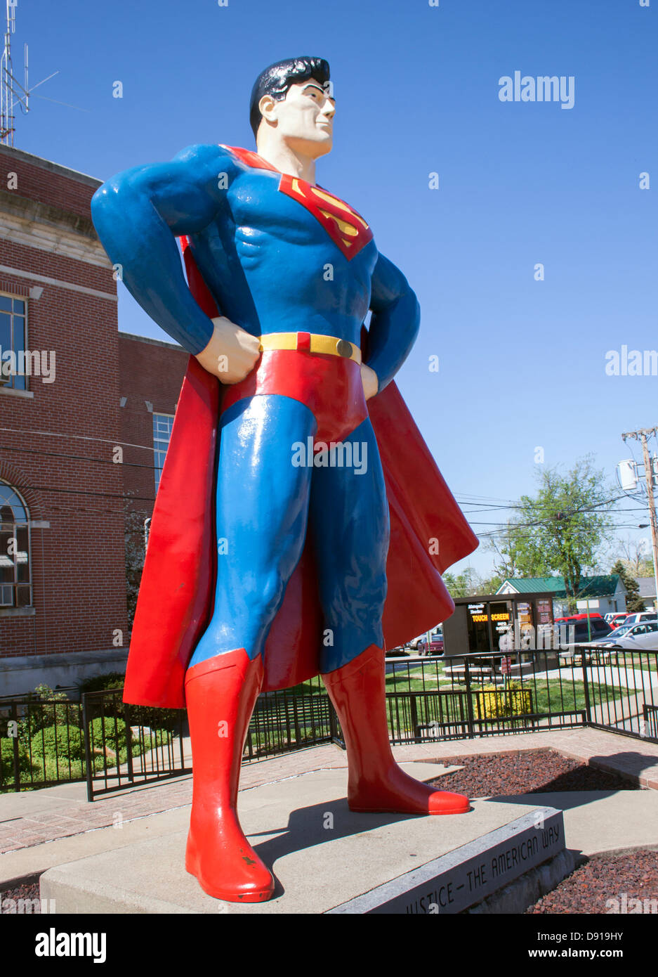 Metropolis Illinois Home of Superman Statue - Stock Image