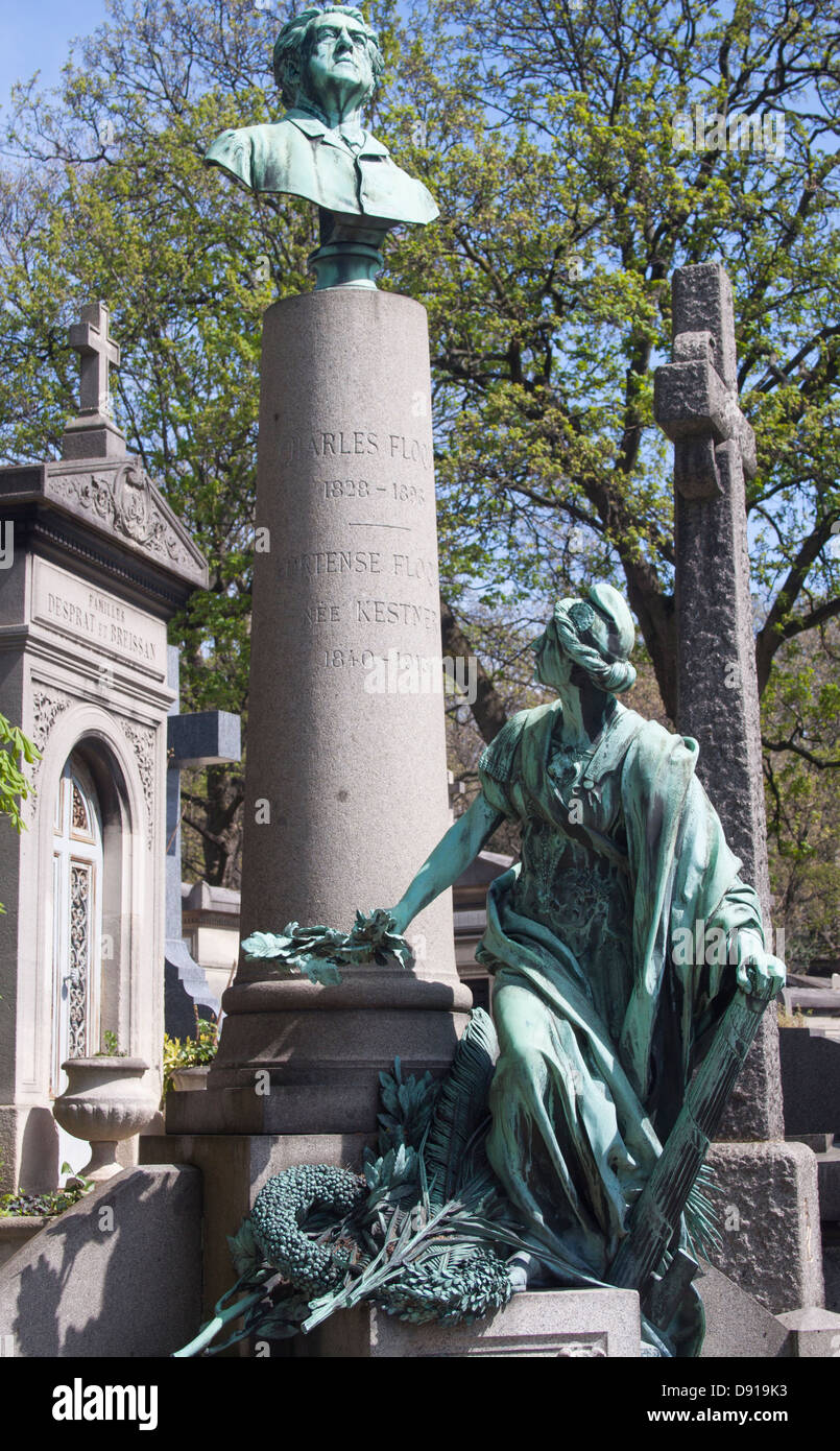 Grave at Pere Lachaise Cemetery in Paris France - Stock Image