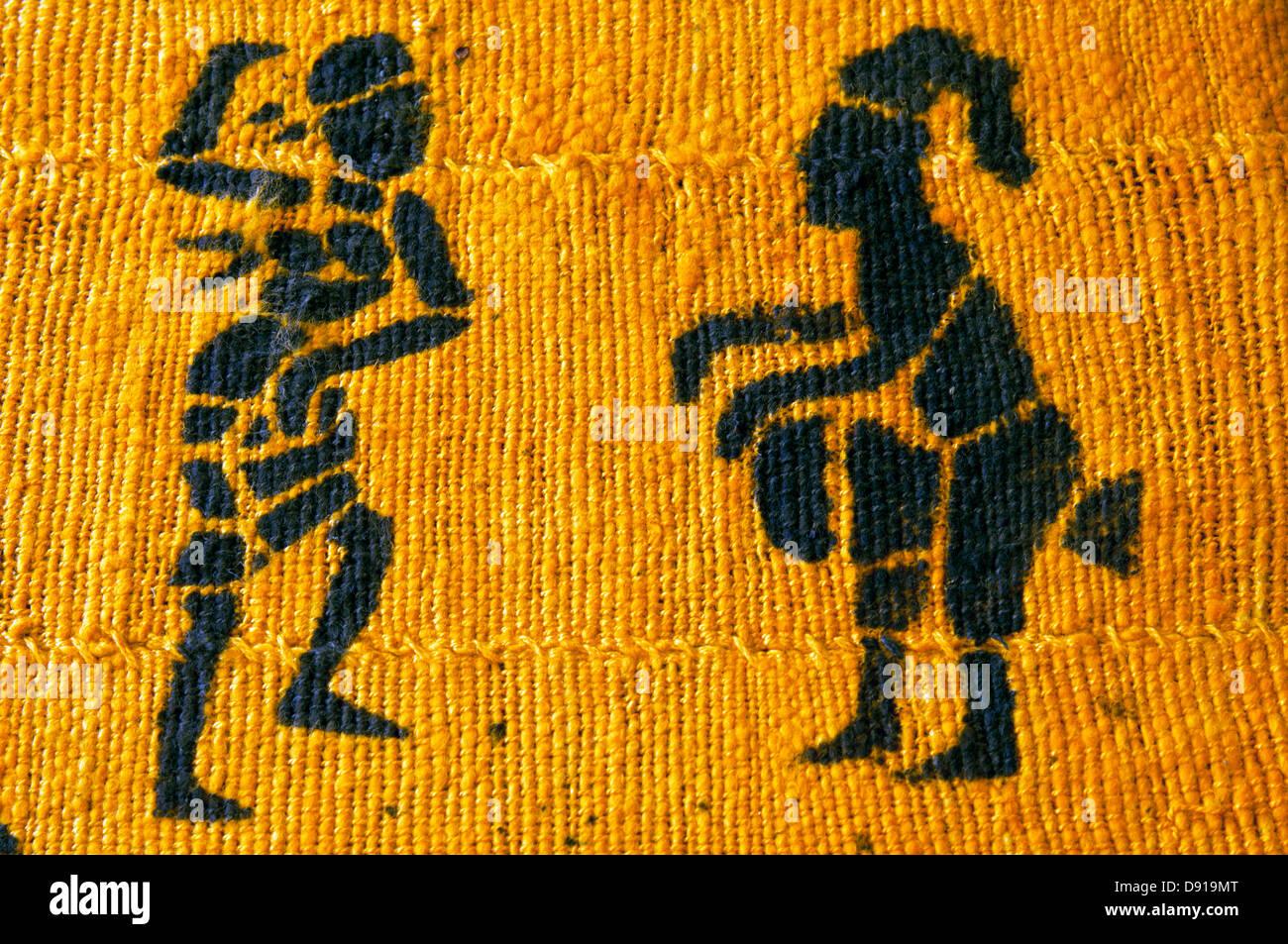 hand-woven textile, ghana, in studio setting - Stock Image
