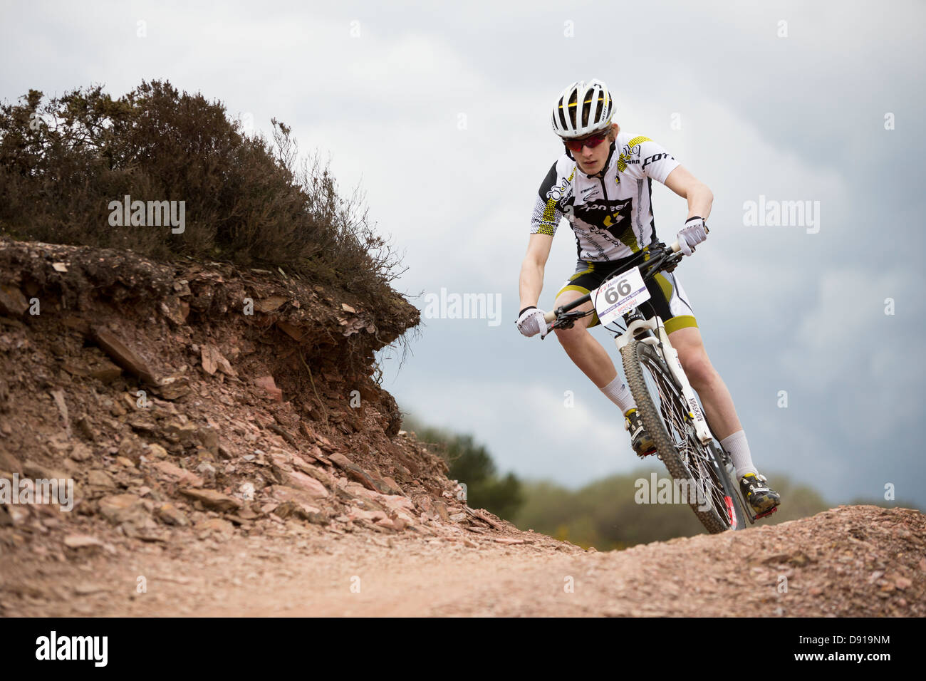 WHEAL MAYD VALLEY, REDRUTH, UK. British XC Series Round 2, mountain bike cross country race. - Stock Image