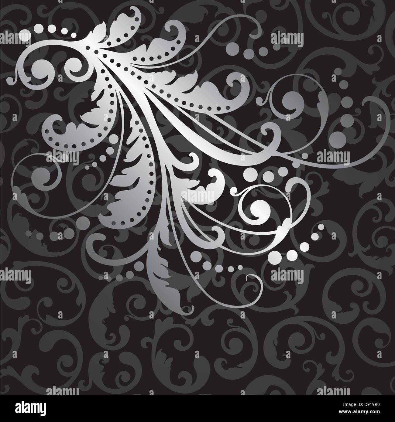 floral silver design element on seamless black swirls wallpaper pattern D919R0