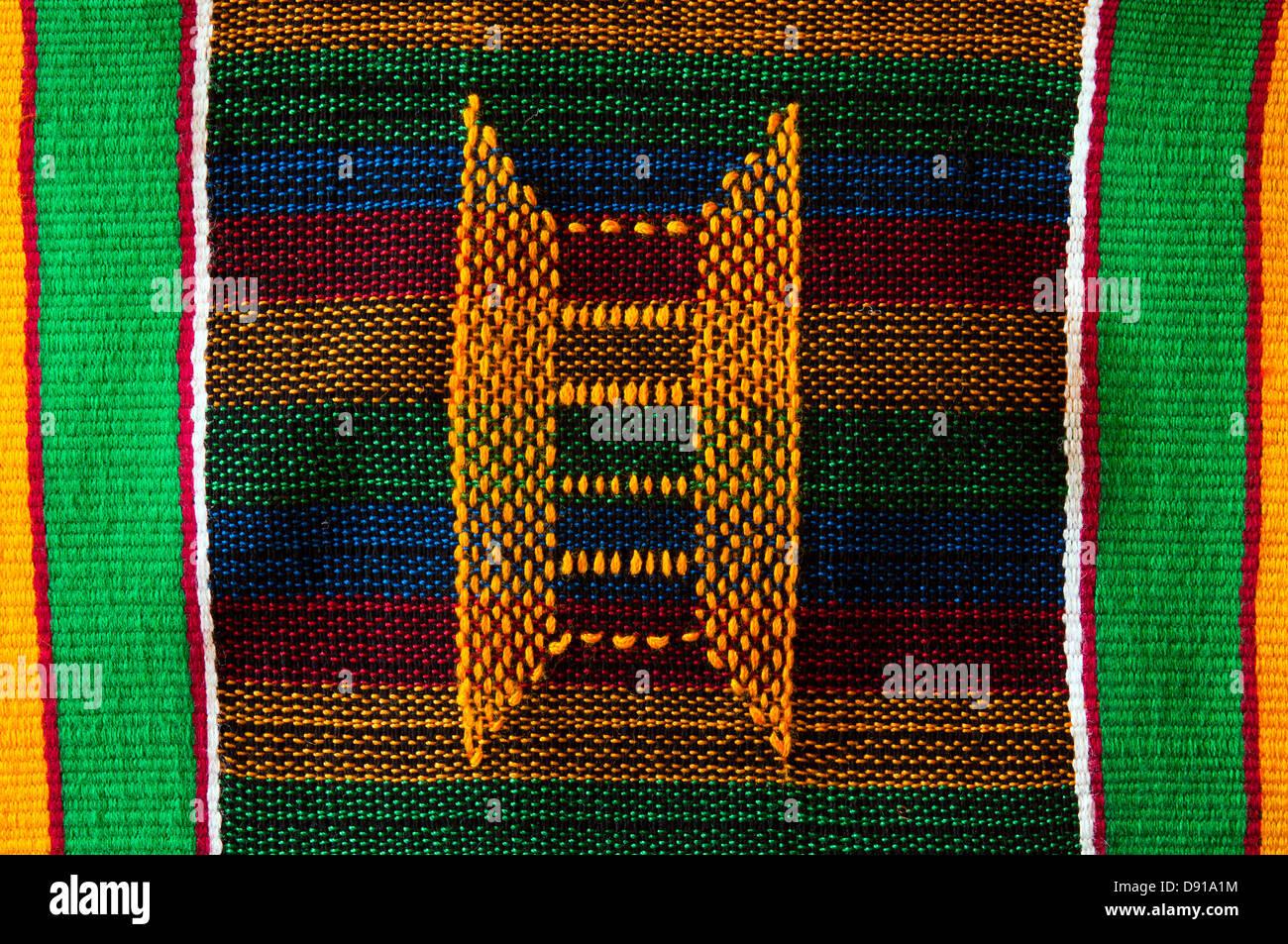 kente textile detail, ghana, in studio setting - Stock Image