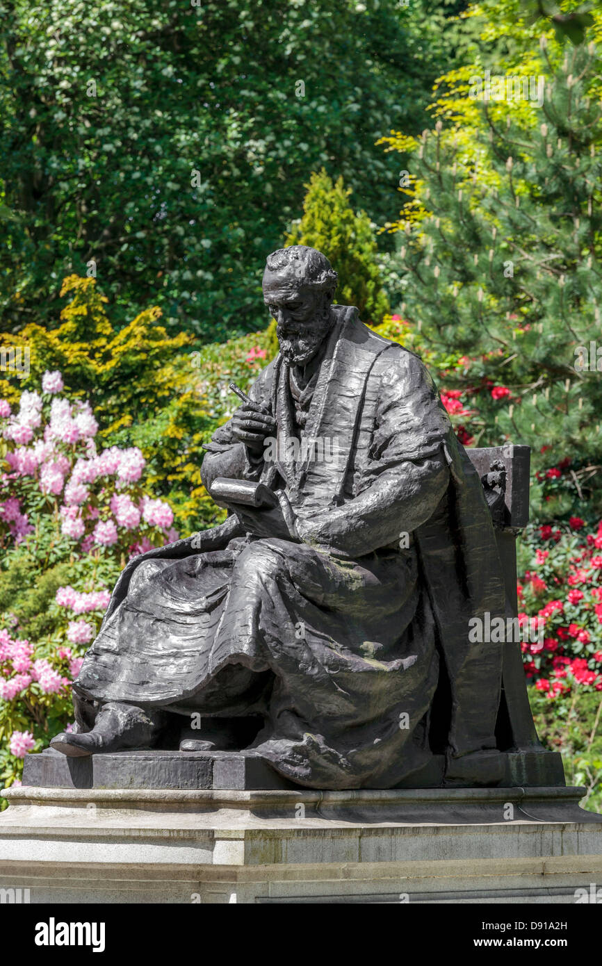 Statue of Lord Kelvin, William Thomson, 1824 - 1907, famous Scottish engineer, physicist and mathematician, - Stock Image
