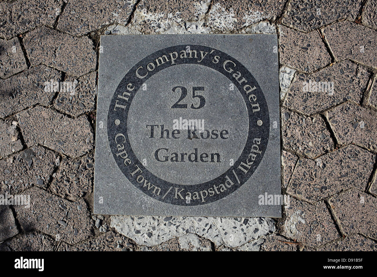 Plaque in the Rose Gardens, Cape Town - Stock Image