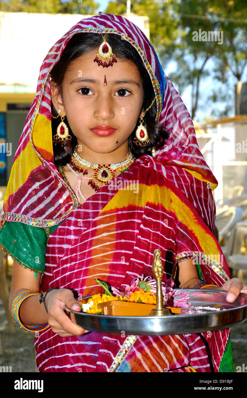 A young girl posing as Sita of Ramayana,a Hindu epic, in India - Stock Image