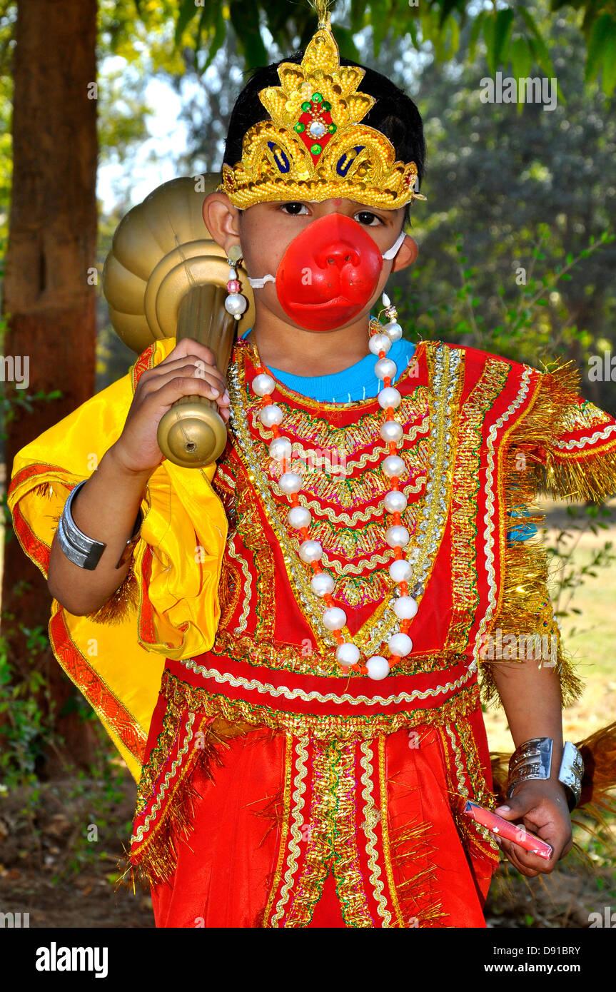 A boy posing as Hanuman, a Hindu God, from Ramayana ( an epic) India - Stock Image