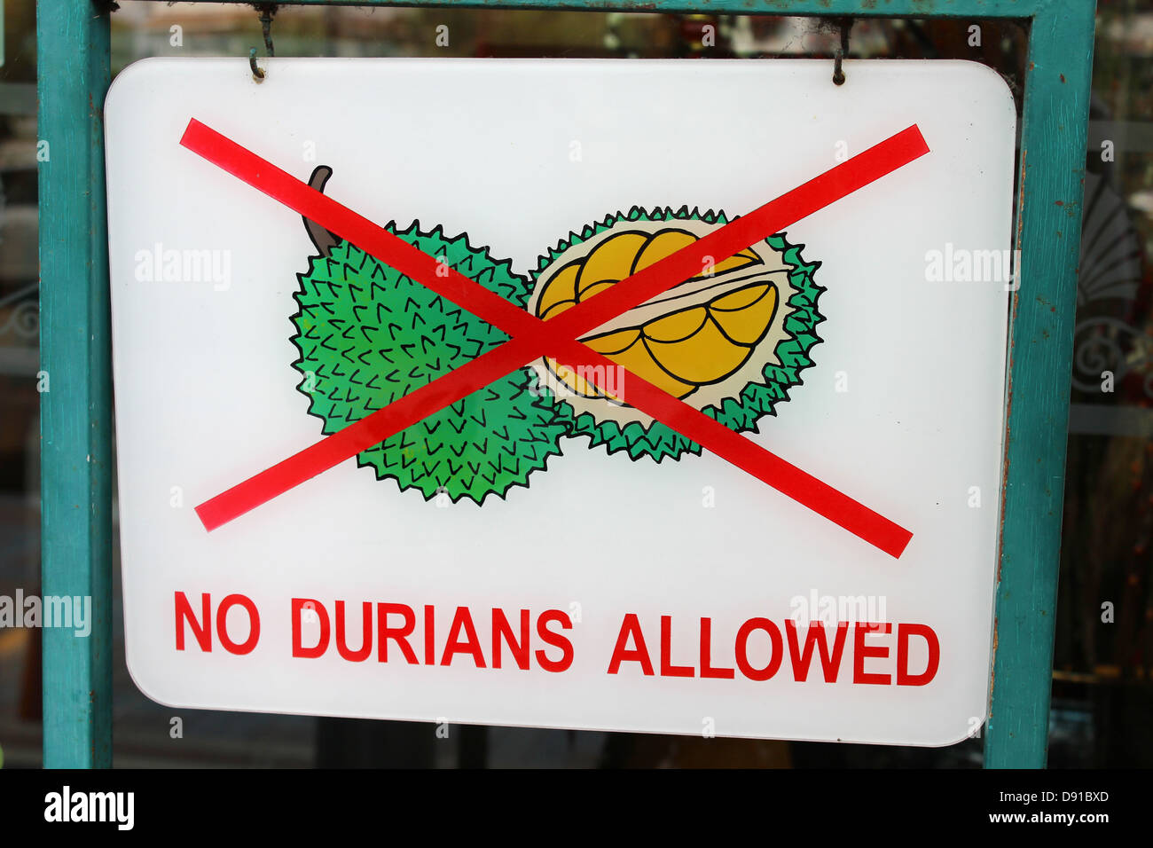 No Durians allowed sign, sign prohibiting durian fruit, Penang, Malaysia - Stock Image