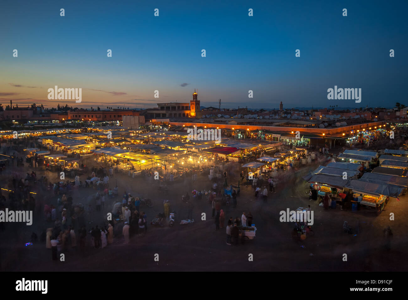 Jemaa el-Fnaa, square and market place in Marrakesh, Morocco - Stock Image