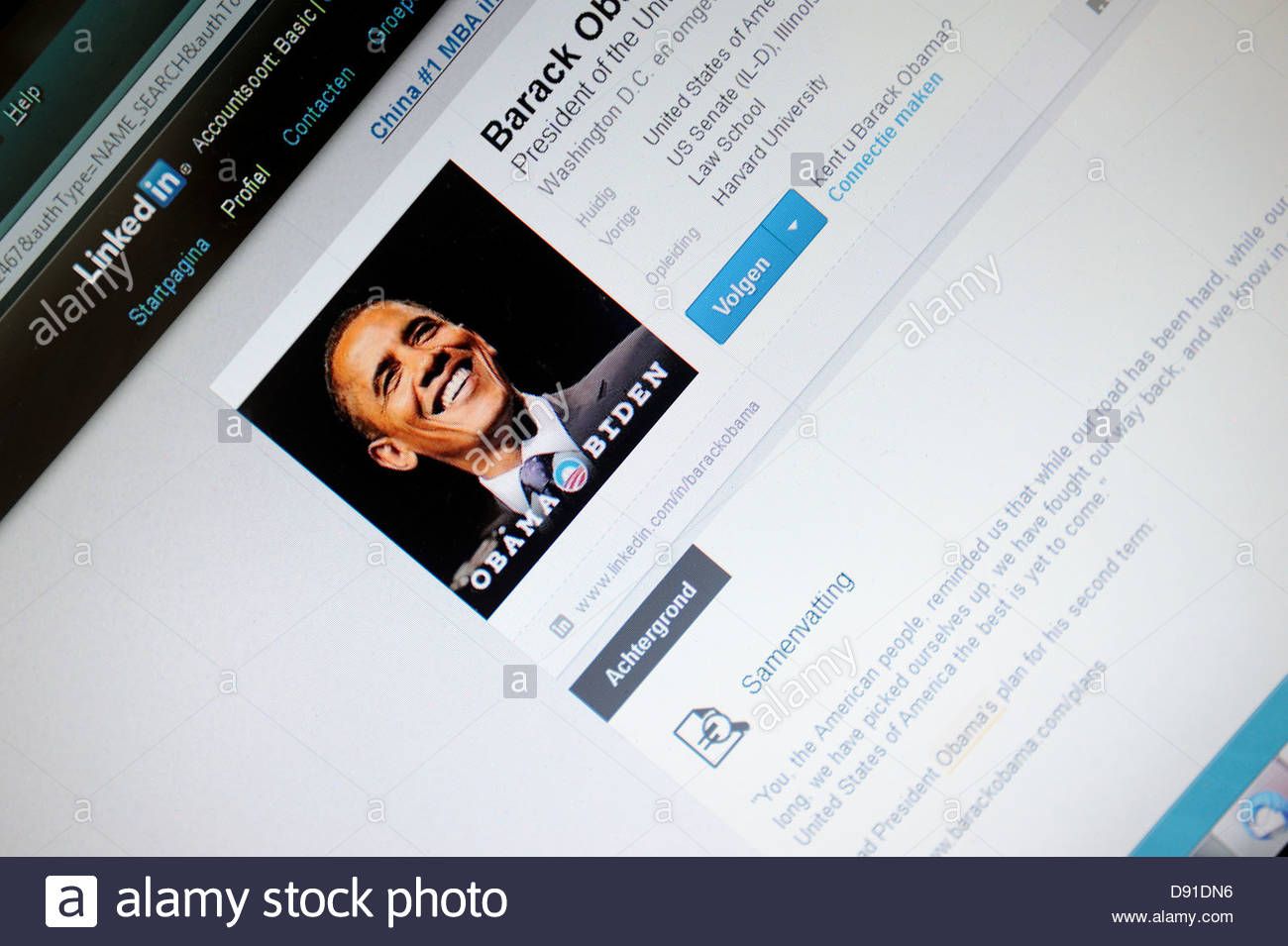 Internet Linkedin page Barack Obama - Stock Image