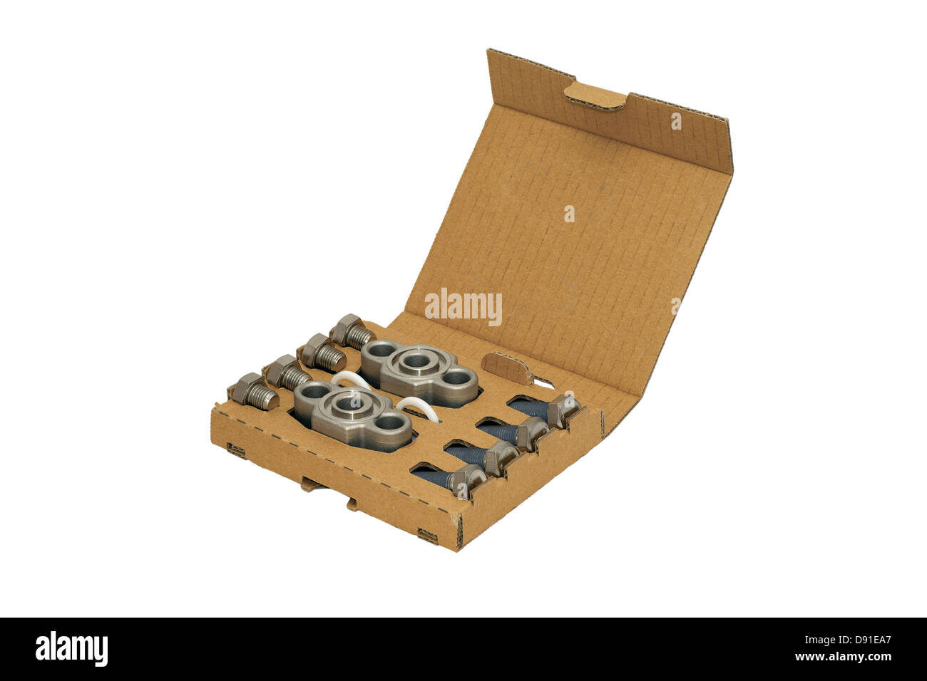 cardboard, box, packaging, white, isolated, object, product, container, opened, carton, element, bolt, screw, metal, - Stock Image