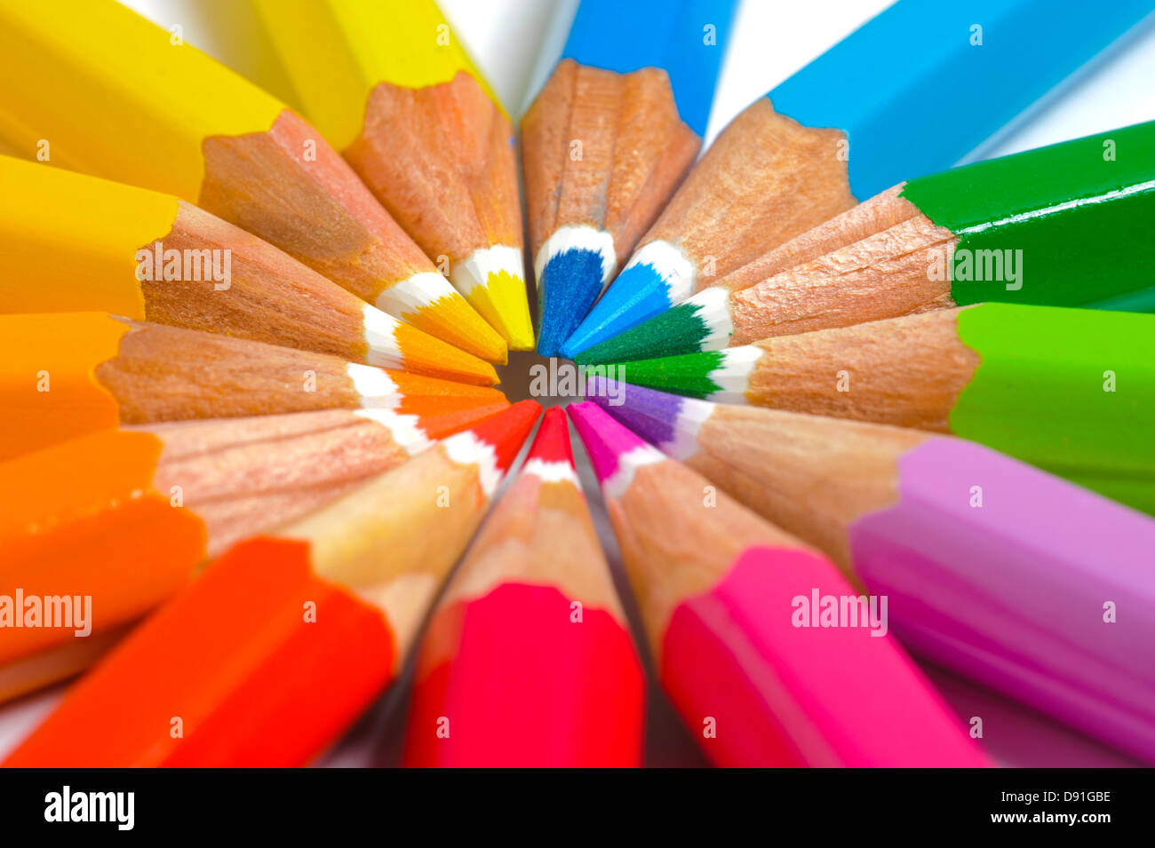 colored pencil in circle - Stock Image
