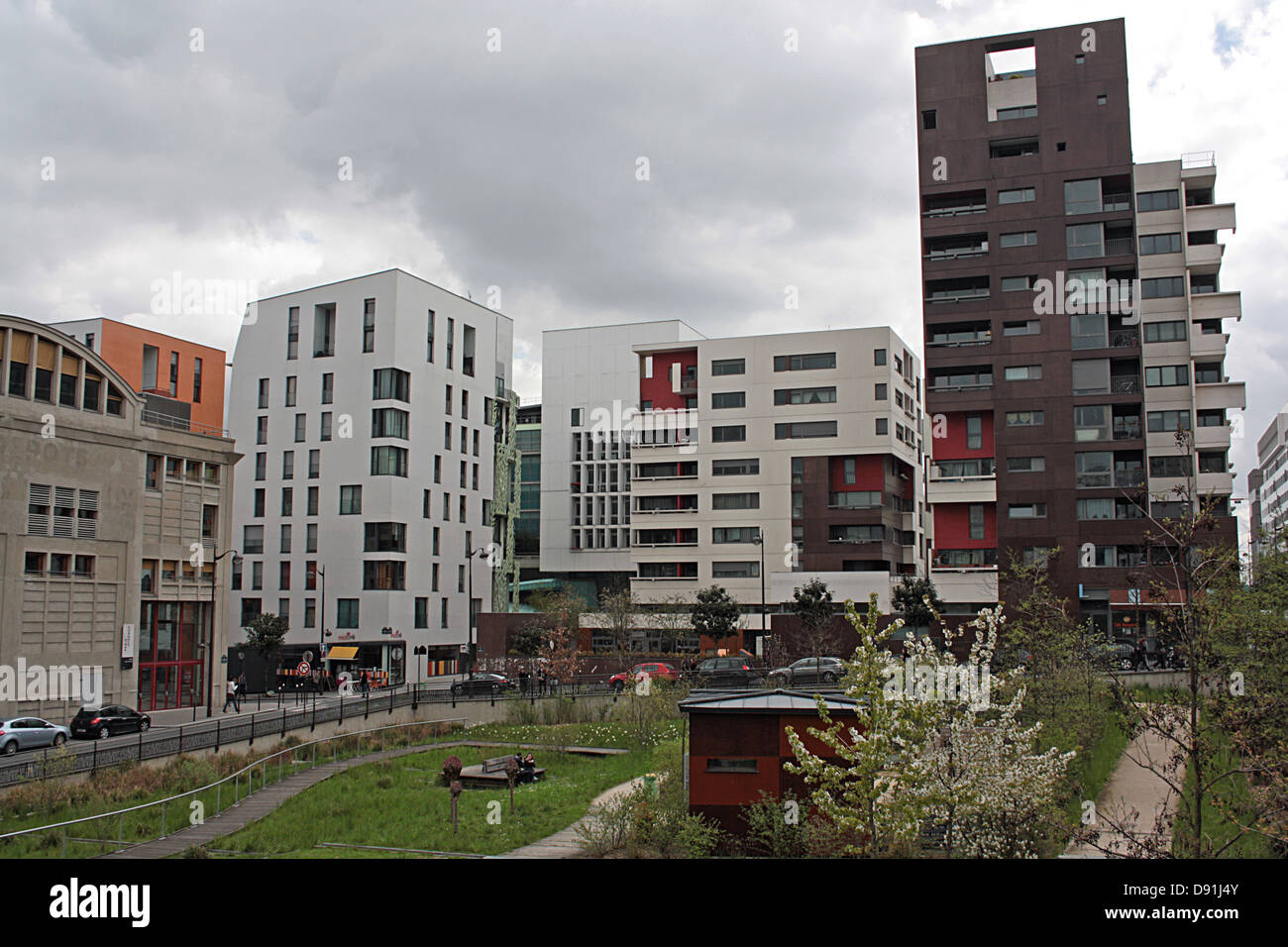 Area adjacent to Grands Moulins de Paris, now part of Université Paris VII Denis-Diderot - Stock Image