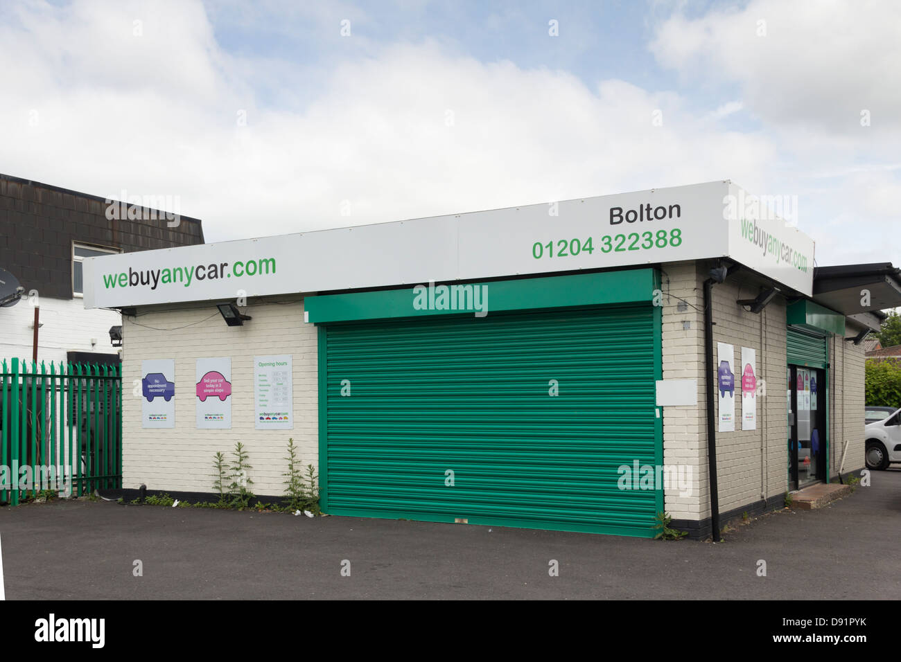 The Webuyanycar.com office on Manchester Road Bolton, specialists in buying secondhand cars for cash through their - Stock Image