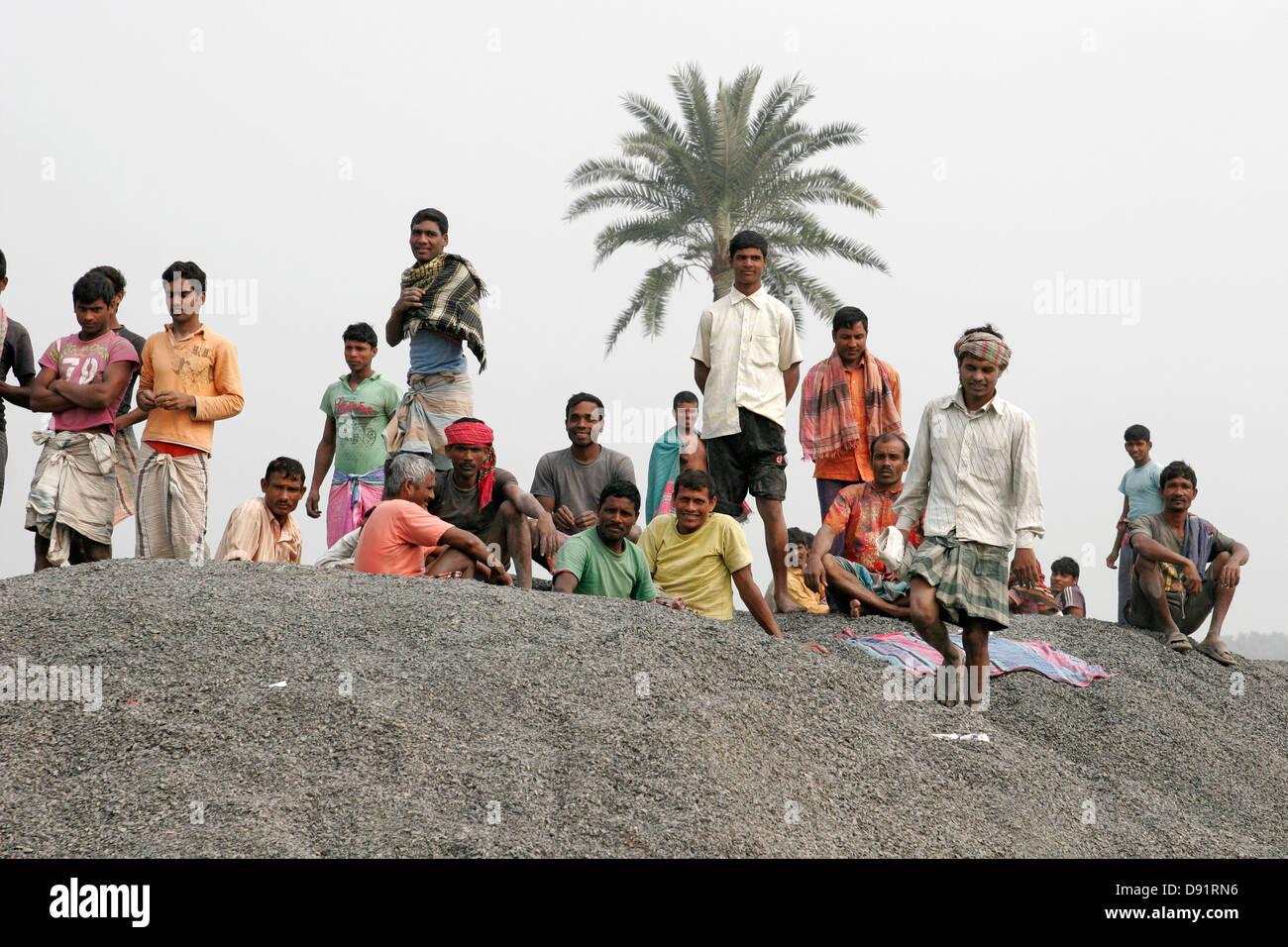 Crowd of Bangladeshi men - Stock Image