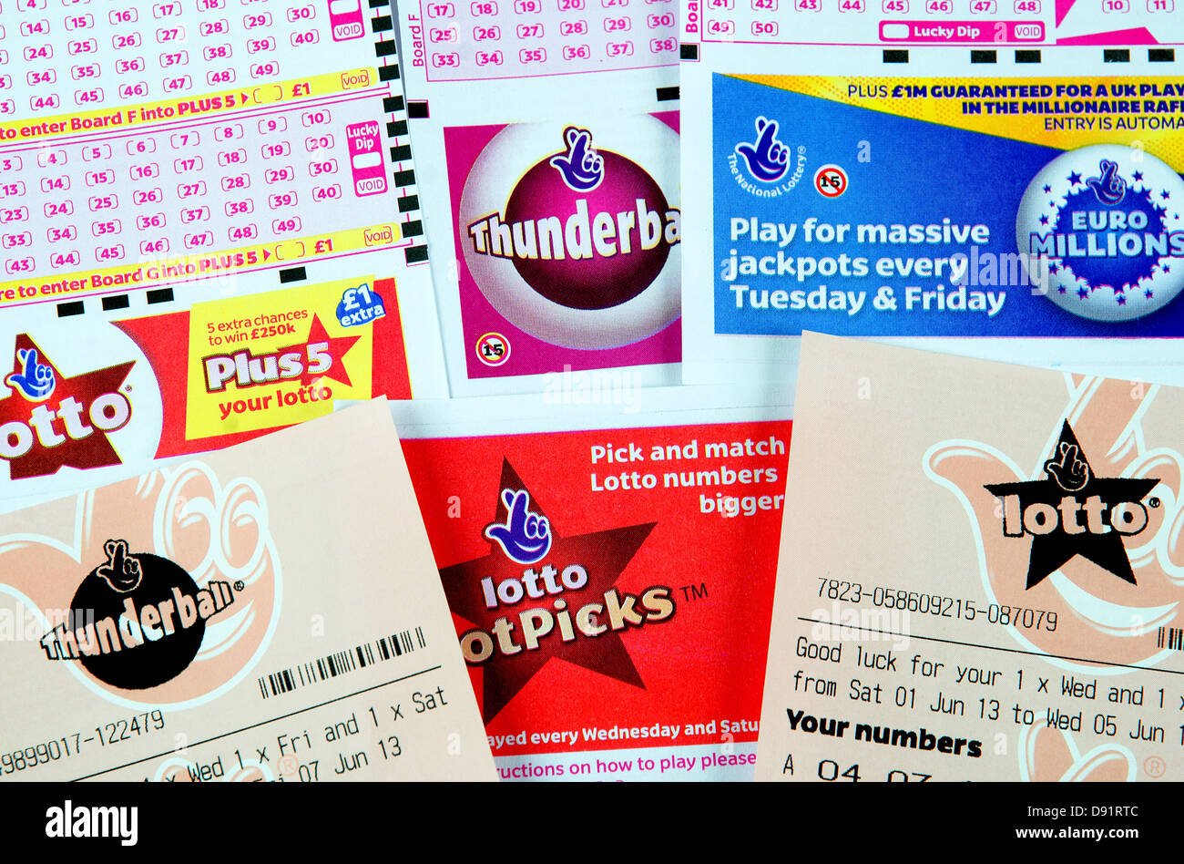 Assorted lottery tickets - Stock Image