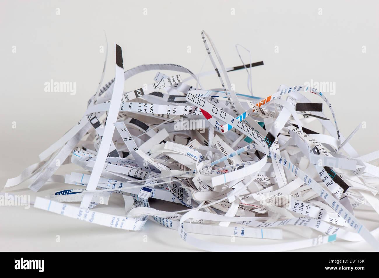shredded paper document - Stock Image