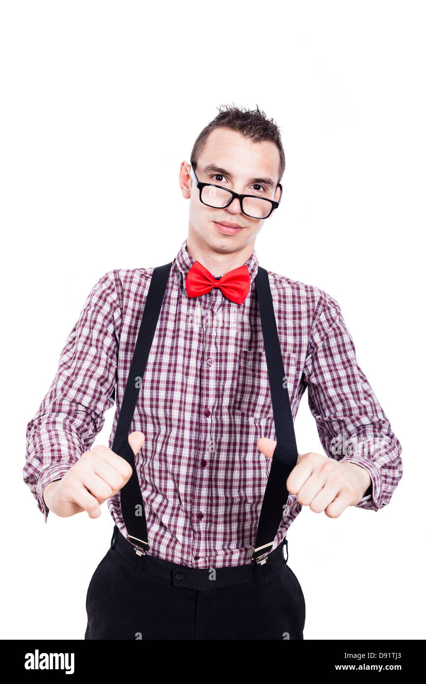 Portrait of nerd man showing his suspenders, isolated on white background - Stock Image
