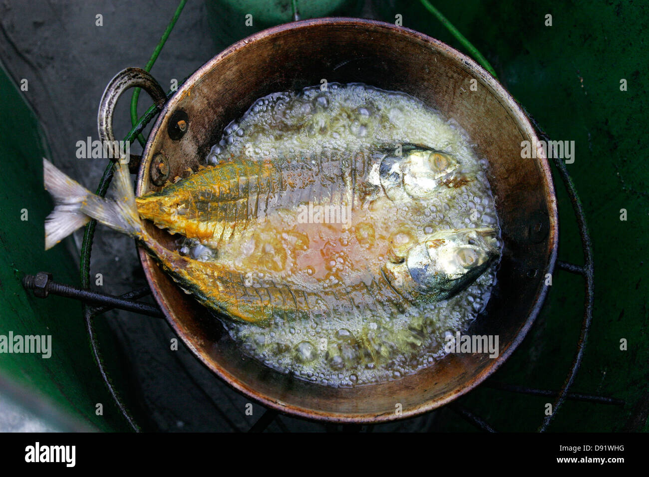 Fresh sea fish marinated in spices and cooked in the frying pan, Saint Martin Island, Bangladesh, Asia - Stock Image