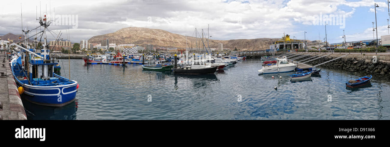 Harbour / Harbor panorama at Los Cristianos town, Southern Tenerife, Canary Islands Spain - Stock Image