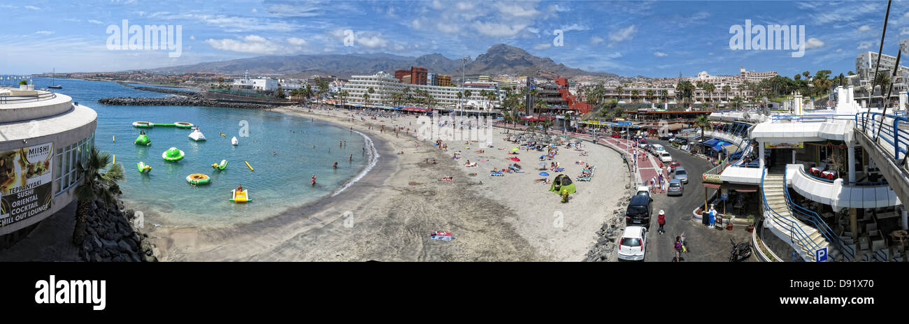 Panorama of beach at Puerto Colon, Near La Pinta beach, between Playa Las americas and Costa Adeje, South Tenerife - Stock Image