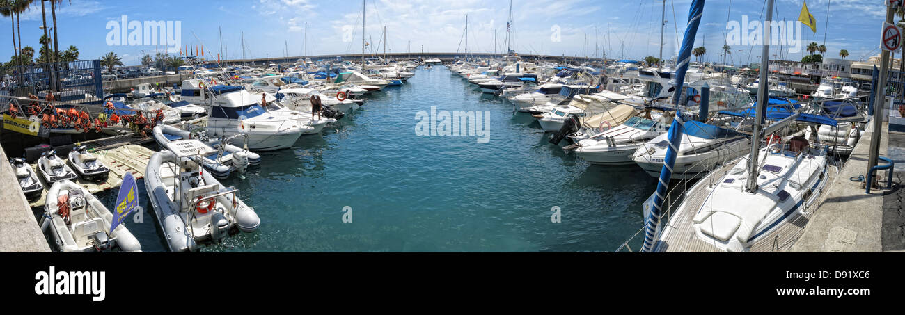 Panorama of harbor / harbour at Puerto Colon, Near La Pinta beach, between Playa Las americas and Costa Adeje, South - Stock Image