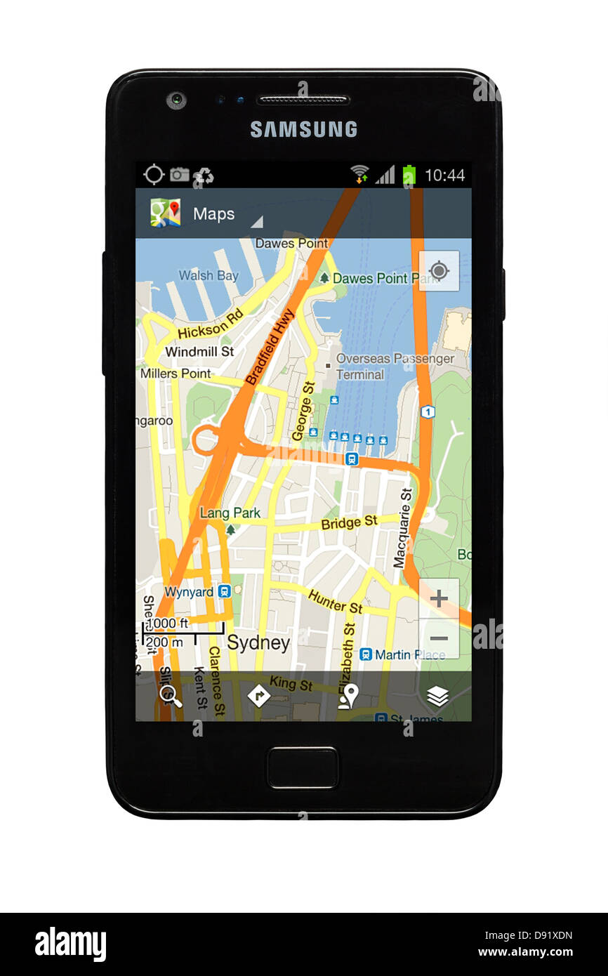 Samsung Galaxy S2 smartphone with Google map of Sydney, Australia on display. - Stock Image