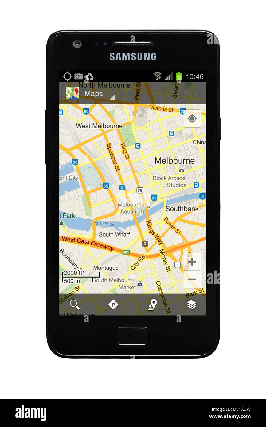 Samsung Galaxy S2 smartphone with Google map of Melbourne, Australia on display. - Stock Image