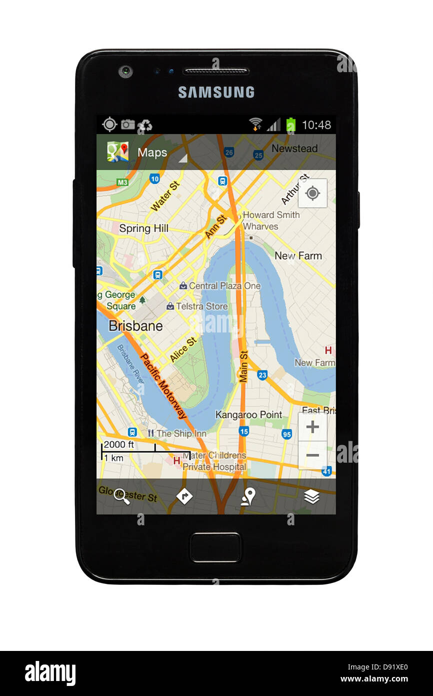 Samsung Galaxy S2 smartphone with Google map of Brisbane, Australia on display. - Stock Image