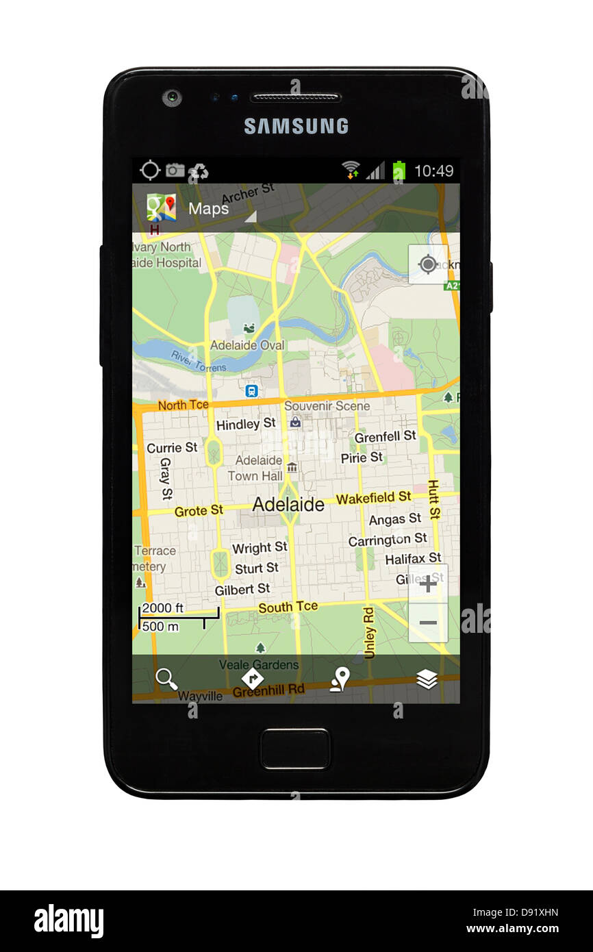 Samsung Galaxy S2 smartphone with Google map of Adelaide, Australia on display. - Stock Image