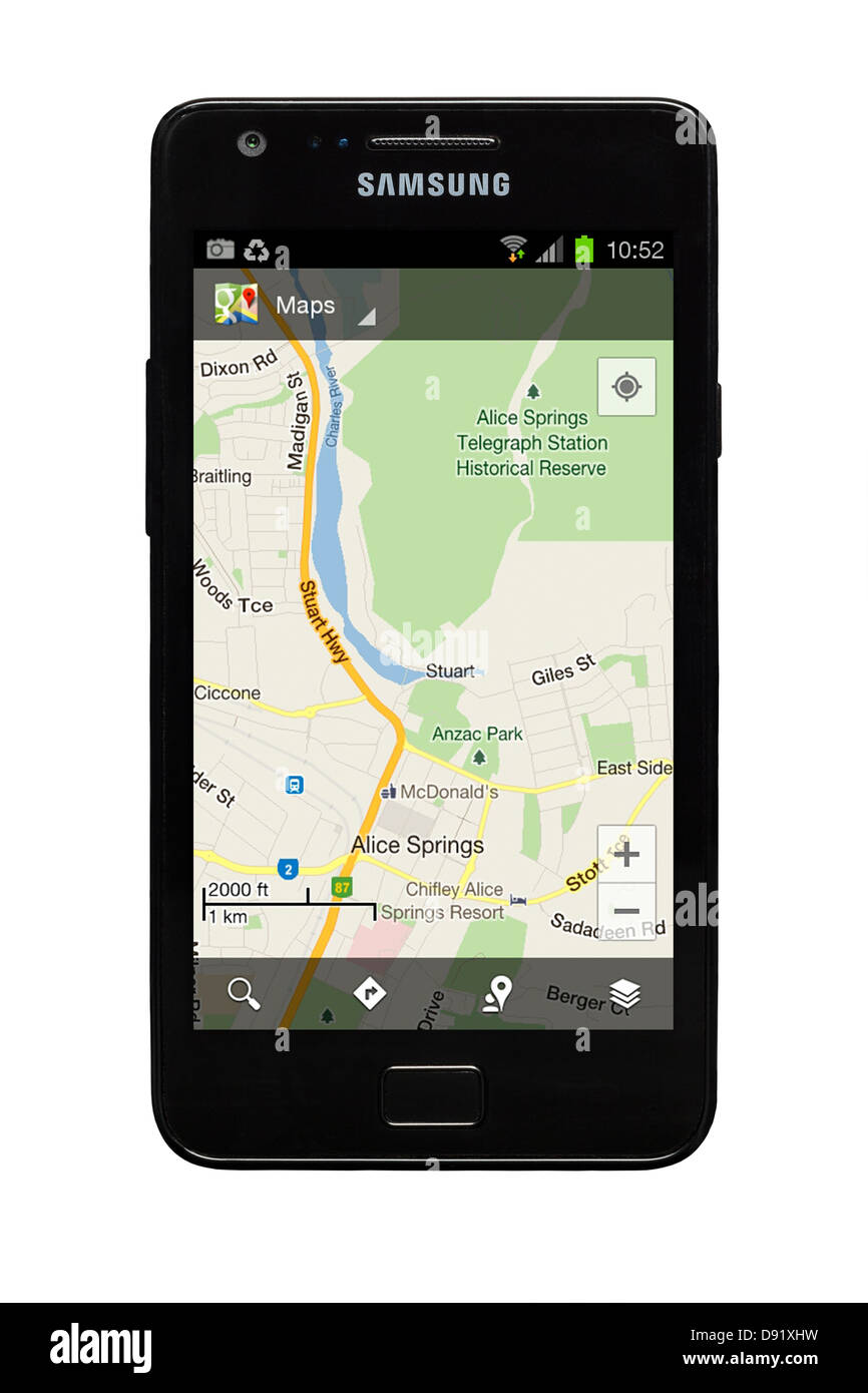 Samsung Galaxy S2 smartphone with Google map of Alice Springs, Australia on display. - Stock Image
