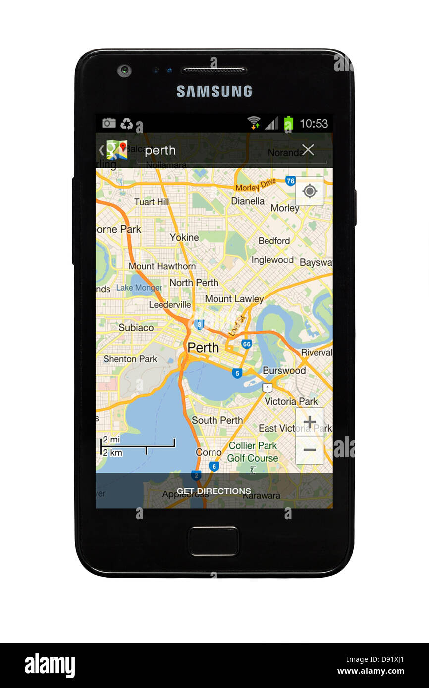 Samsung Galaxy S2 smartphone with Google map of Perth ... on google lightning map, google classic map, google kingston map, google solar system map, google pluto map, google venus map, google transit map, google sky map, google space map, google jupiter map, google explorer map, google universe map,